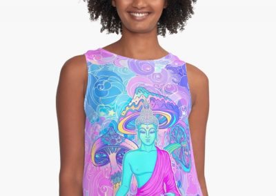 Trippy Buddha – Contrast Tank - front view