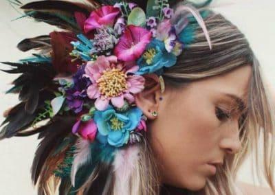 Handmade custom floral feather boho ear cuffs by Chelseasflowercrowns