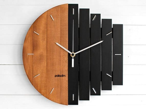 Industrial Wall Clock, Unique Wall Clock, Home Gift Clock, Unusual Wall Clock, Component Clock, Wood Clock, Abstract Style, Industrial Decor