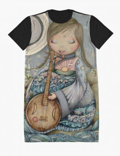 Moon Guitar Graphic T-Shirt Dress