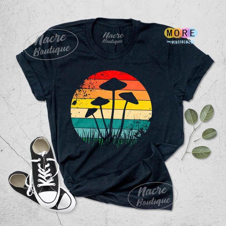 Psychedelic Mushroom Shirt, Magic Mycology dark t-Shirt