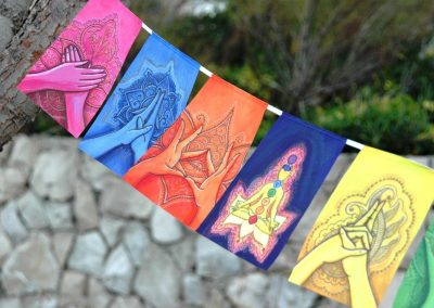 MUDRAS prayer flags Healing art Yoga poster Reiki decor Chakra banner outdoors