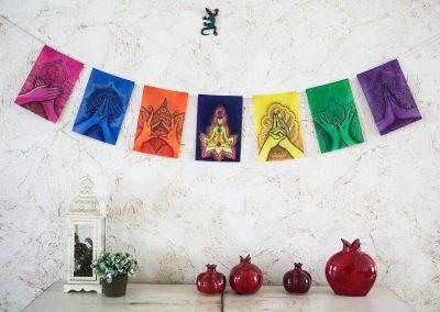 MUDRAS prayer flags Healing art Yoga poster Reiki decor Chakra banner onwhite wall