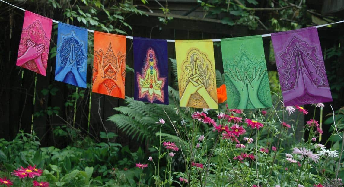 Beautiful set of MUDRAS prayer flags. Hand painted and then printed.