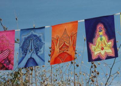 MUDRAS prayer flags Healing art Yoga poster Reiki decor Chakra banner outside
