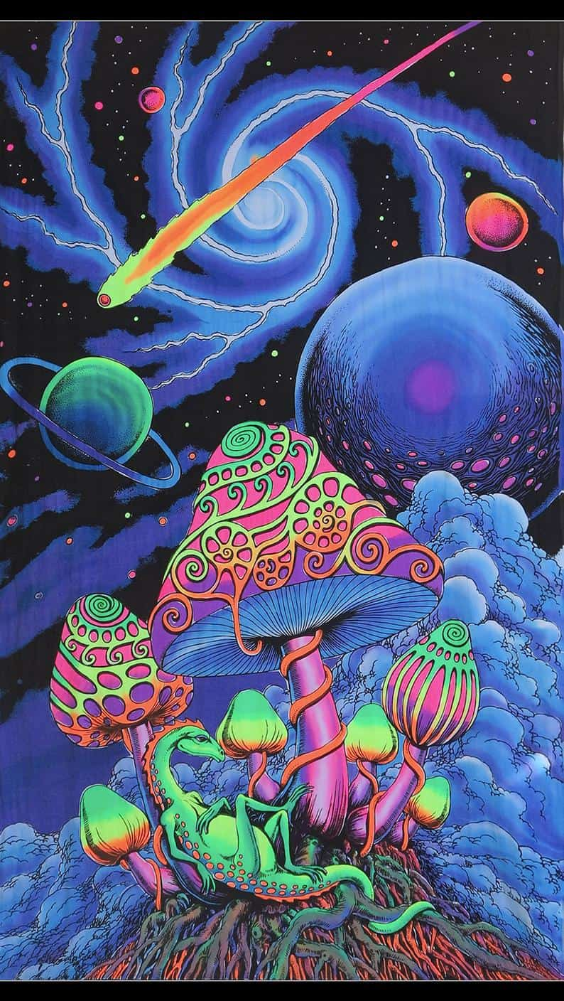 Cosmic Shrooms' Psychedelic UV banners by Space Tribe