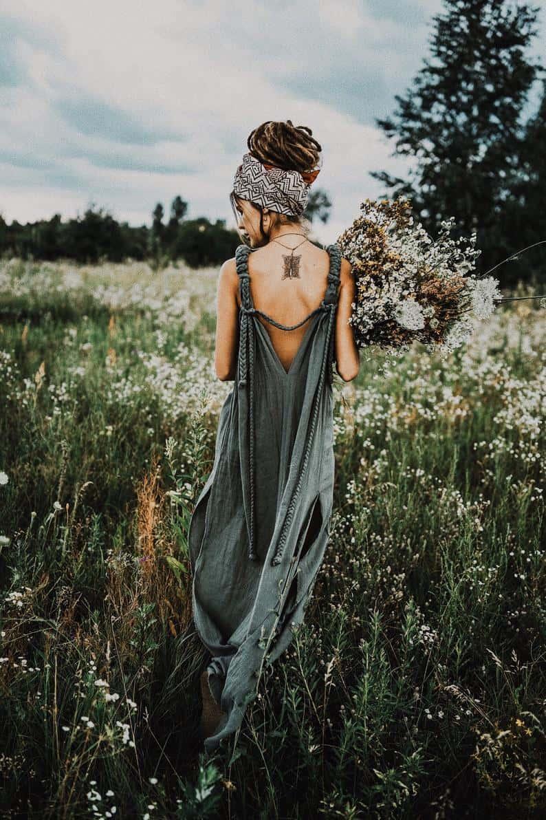 Cotton Boho Dress - Organic Green Goddess Maxi Dress